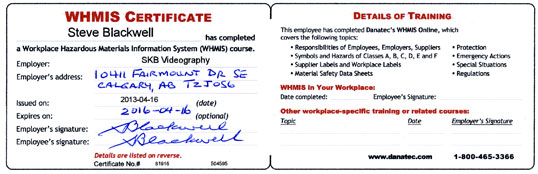 in the oil and gas industry certification cards are held for tdg whmis standard first aid and h2s alive